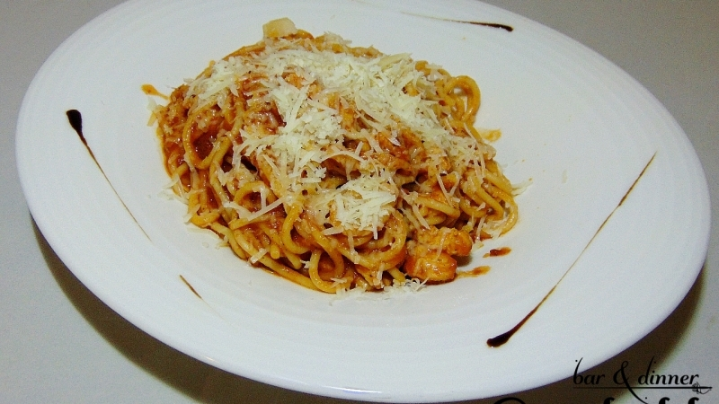 Спагети Арабиата с пиле